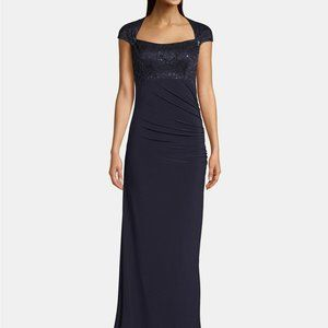 Betsy & Adam Lace Sequin Top Cap Sleeve Gown